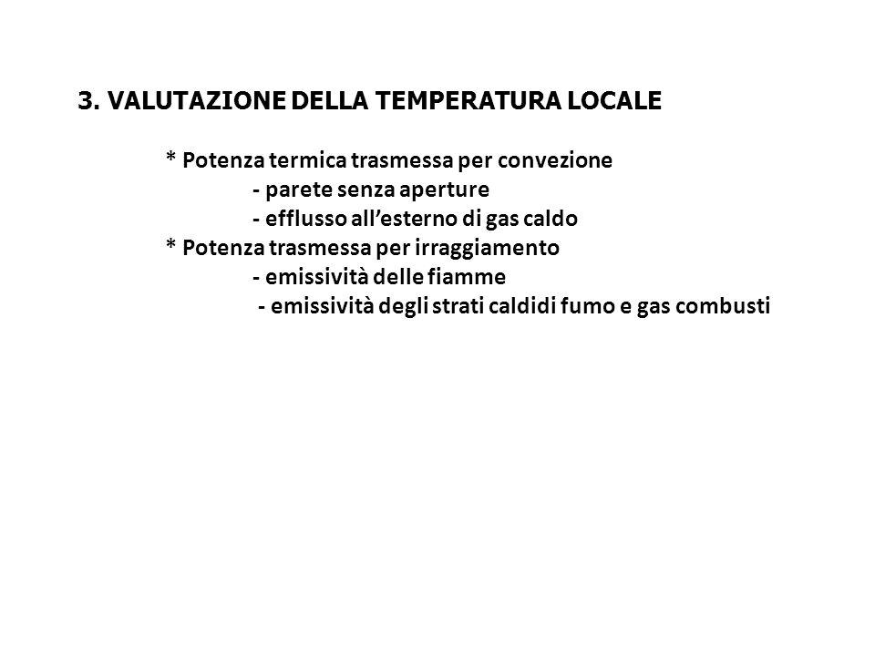3. VALUTAZIONE DELLA TEMPERATURA LOCALE * Potenza termica trasmessa per convezione - parete senza aperture - efflusso allesterno di gas caldo * Potenz