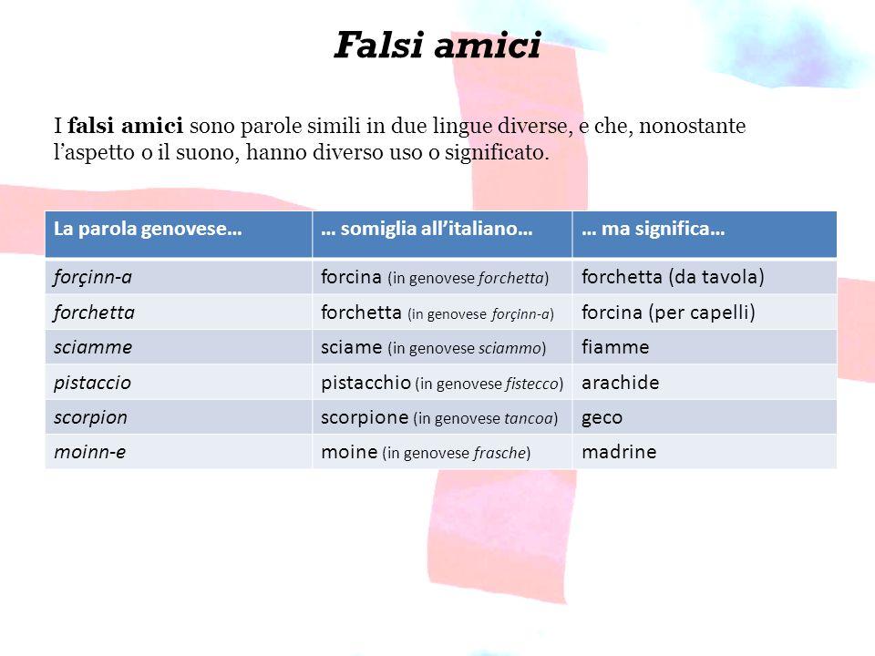 Falsi amici La parola genovese…… somiglia allitaliano…… ma significa… forçinn-aforcina (in genovese forchetta) forchetta (da tavola) forchettaforchett