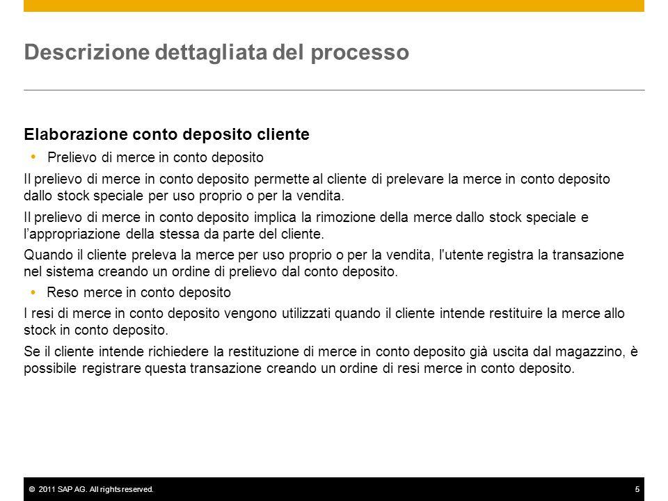 ©2011 SAP AG. All rights reserved.5 Descrizione dettagliata del processo Elaborazione conto deposito cliente Prelievo di merce in conto deposito Il pr