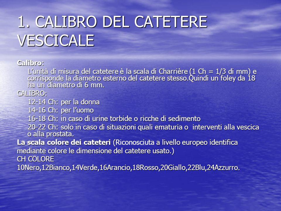 1. CALIBRO DEL CATETERE VESCICALE Calibro: Lunità di misura del catetere è la scala di Charrière (1 Ch = 1/3 di mm) e corrisponde la diametro esterno