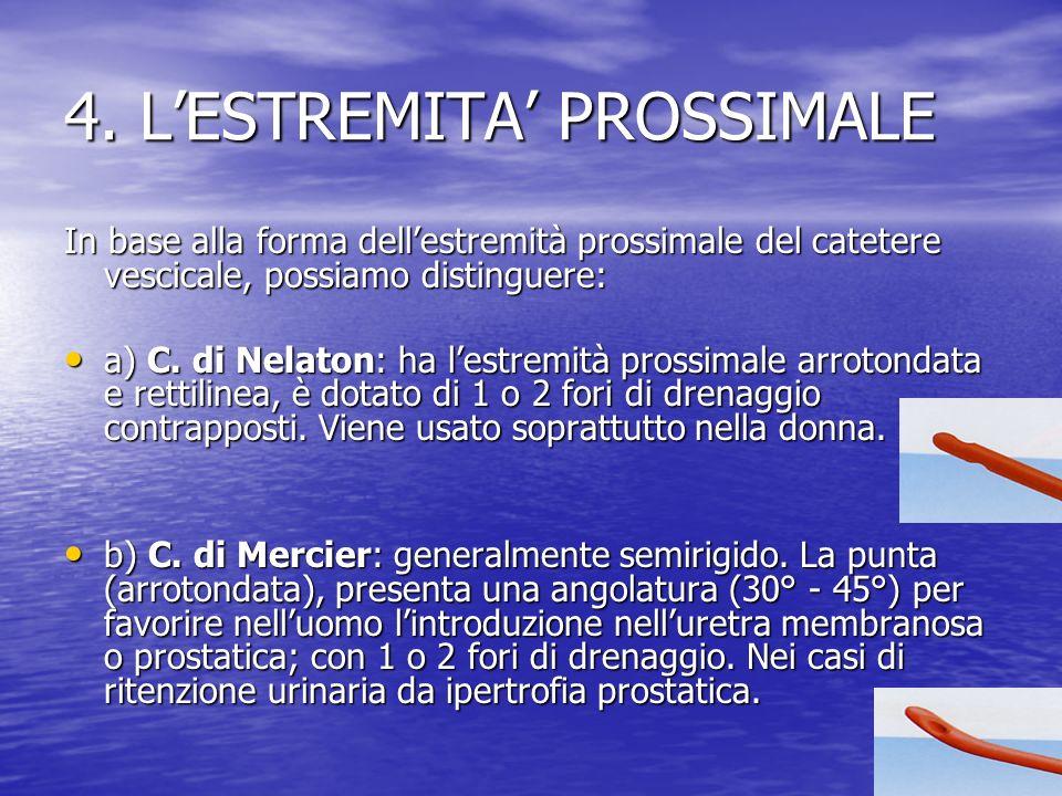 4. LESTREMITA PROSSIMALE In base alla forma dellestremità prossimale del catetere vescicale, possiamo distinguere: a) C. di Nelaton: ha lestremità pro