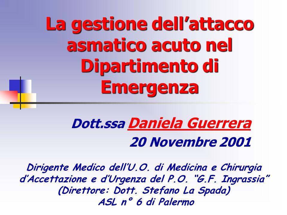 La gestione dellattacco asmatico acuto nel Dipartimento di Emergenza Dott.ssa Daniela Guerrera 20 Novembre 2001 Dirigente Medico dellU.O.