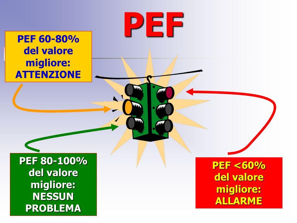 PEF PEF 80-100% del valore migliore: NESSUN PROBLEMA PEF 60-80% del valore migliore: ATTENZIONE PEF <60% del valore migliore: ALLARME