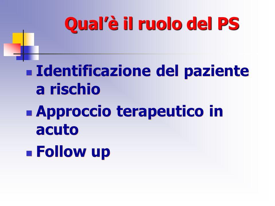 Qualè il ruolo del PS Identificazione del paziente a rischio Approccio terapeutico in acuto Follow up Identificazione del paziente a rischio Approccio terapeutico in acuto Follow up