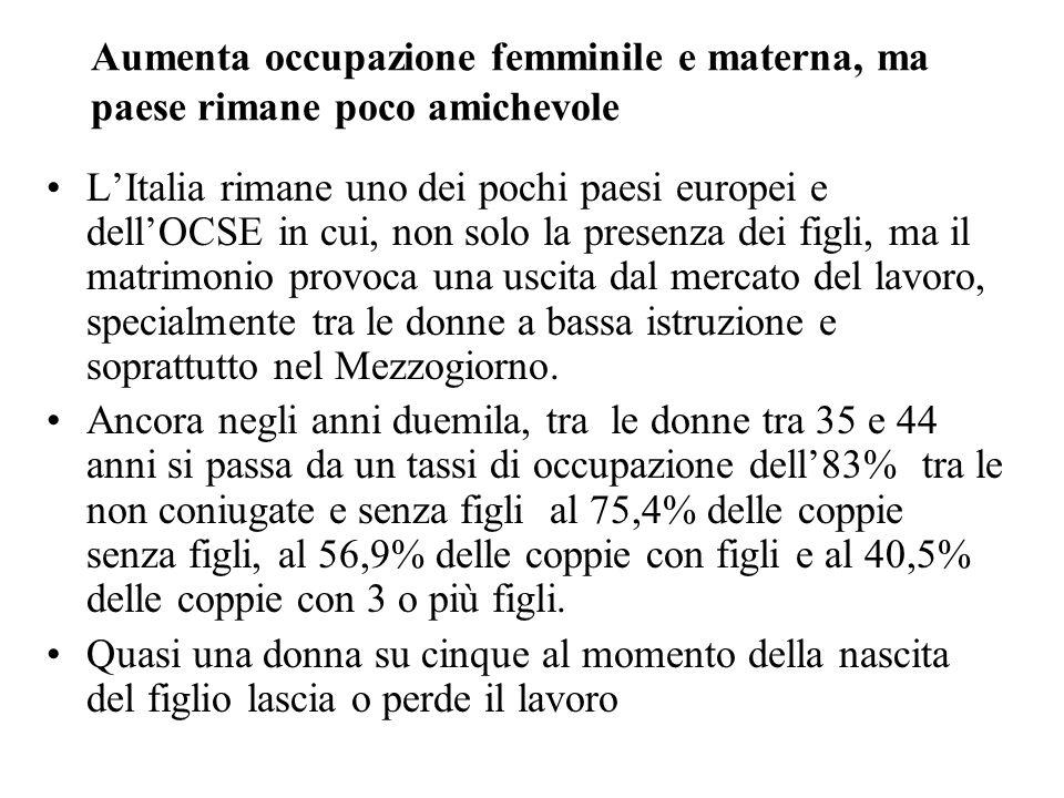 Aumenta occupazione femminile e materna, ma paese rimane poco amichevole LItalia rimane uno dei pochi paesi europei e dellOCSE in cui, non solo la pre