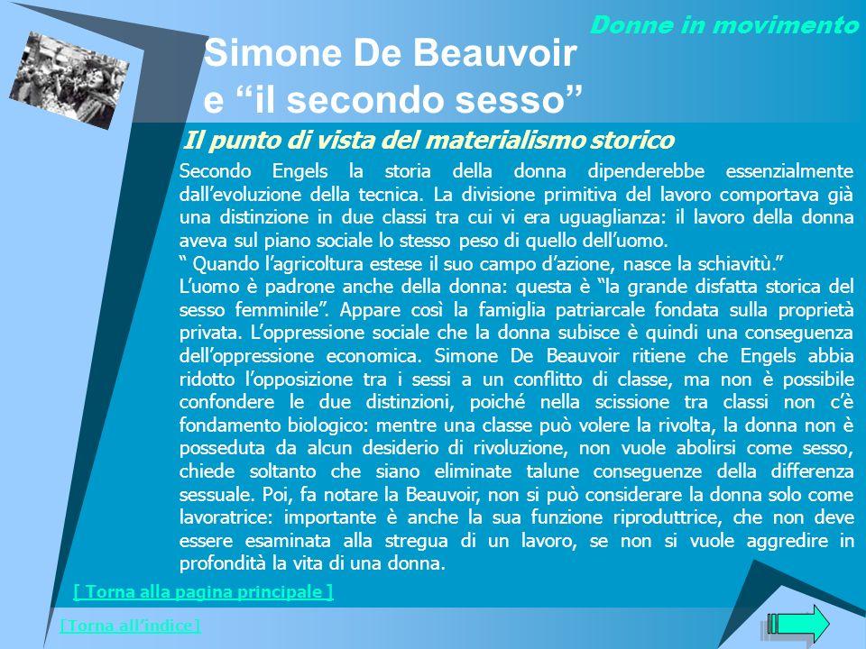 Donne in movimento [Torna allindice] Simone De Beauvoir e il secondo sesso Il punto di vista del materialismo storico Secondo Engels la storia della d