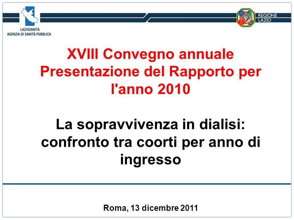 XVIII Convegno annuale Presentazione del Rapporto per l'anno 2010 La sopravvivenza in dialisi: confronto tra coorti per anno di ingresso Roma, 13 dice