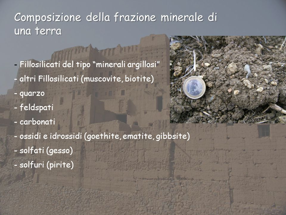 Composizione della frazione minerale di una terra - Fillosilicati del tipo minerali argillosi - altri Fillosilicati (muscovite, biotite) - quarzo - feldspati - carbonati - ossidi e idrossidi (goethite, ematite, gibbsite) - solfati (gesso) - solfuri (pirite)