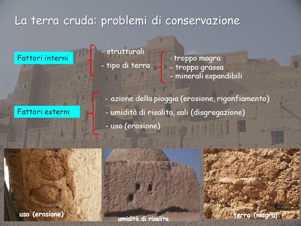 Fattori interni Fattori esterni - azione della pioggia (erosione, rigonfiamento) - umidità di risalita, sali (disgregazione) - uso (erosione) - strutt