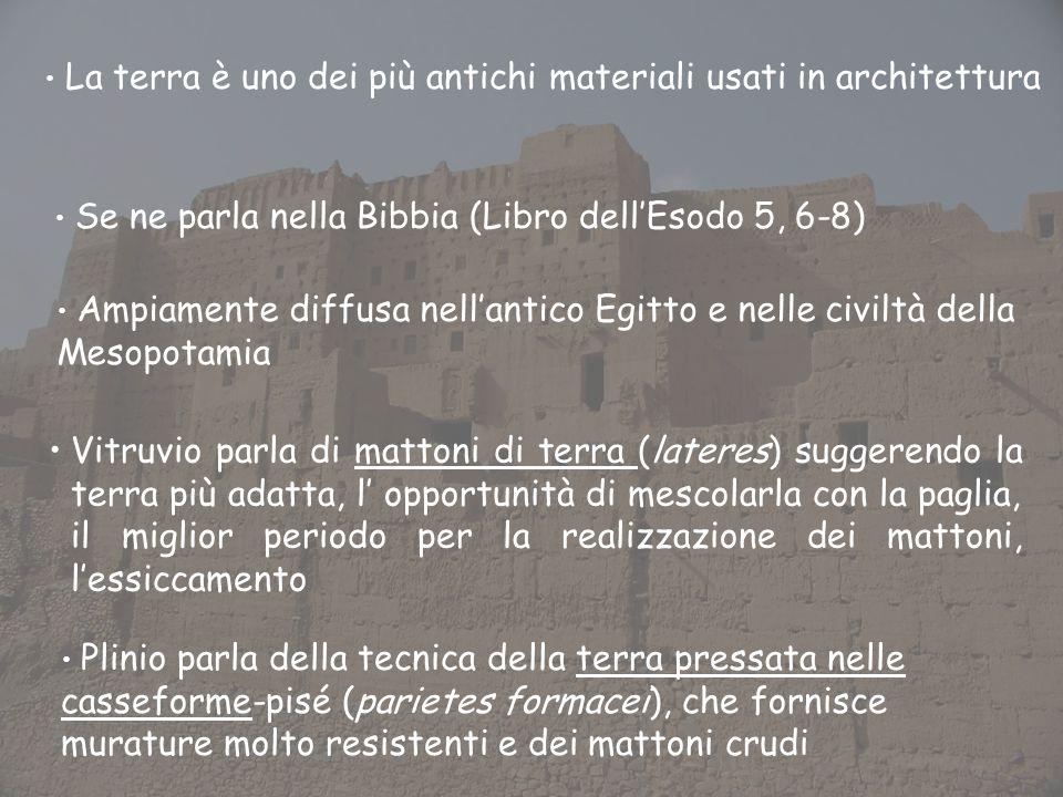 La terra è uno dei più antichi materiali usati in architettura Se ne parla nella Bibbia (Libro dellEsodo 5, 6-8) Ampiamente diffusa nellantico Egitto