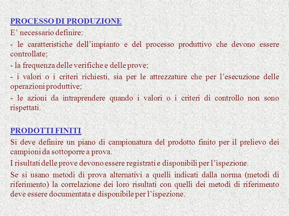 PROCESSO DI PRODUZIONE E necessario definire: - le caratteristiche dellimpianto e del processo produttivo che devono essere controllate; - la frequenz