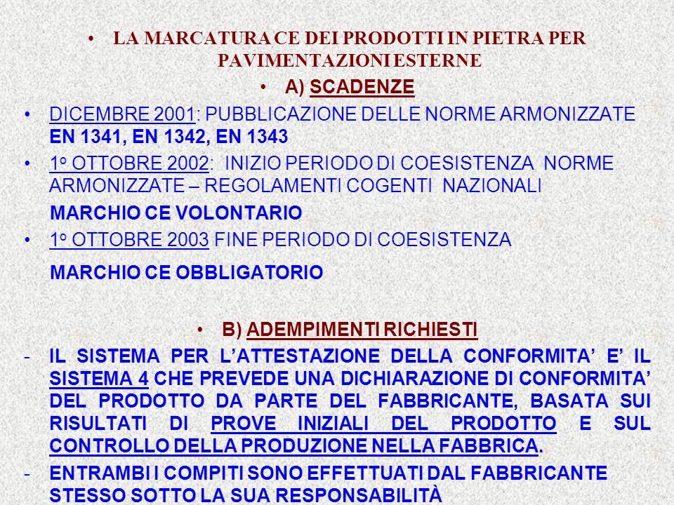LA MARCATURA CE DEI PRODOTTI IN PIETRA PER PAVIMENTAZIONI ESTERNE A) SCADENZE DICEMBRE 2001: PUBBLICAZIONE DELLE NORME ARMONIZZATE EN 1341, EN 1342, E