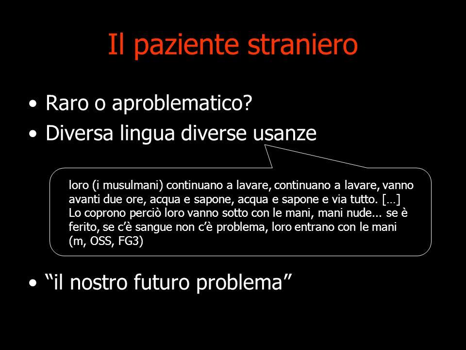 Il paziente straniero Raro o aproblematico? Diversa lingua diverse usanze il nostro futuro problema loro (i musulmani) continuano a lavare, continuano