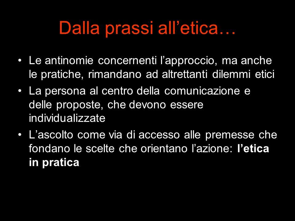 Dalla prassi alletica… Le antinomie concernenti lapproccio, ma anche le pratiche, rimandano ad altrettanti dilemmi etici La persona al centro della co