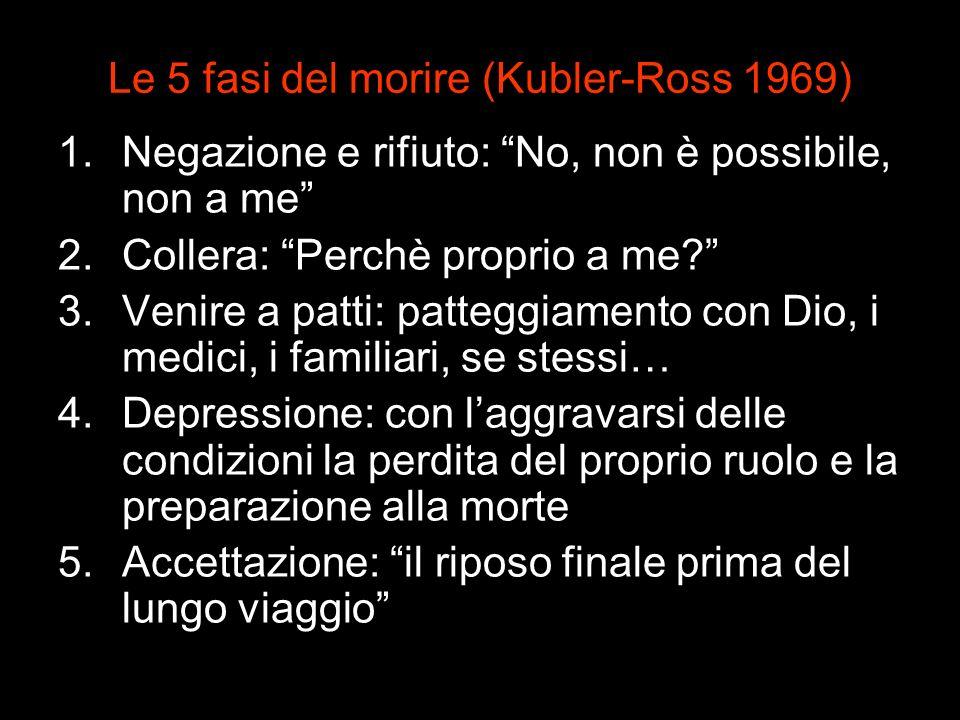 Le 5 fasi del morire (Kubler-Ross 1969) 1.Negazione e rifiuto: No, non è possibile, non a me 2.Collera: Perchè proprio a me? 3.Venire a patti: pattegg