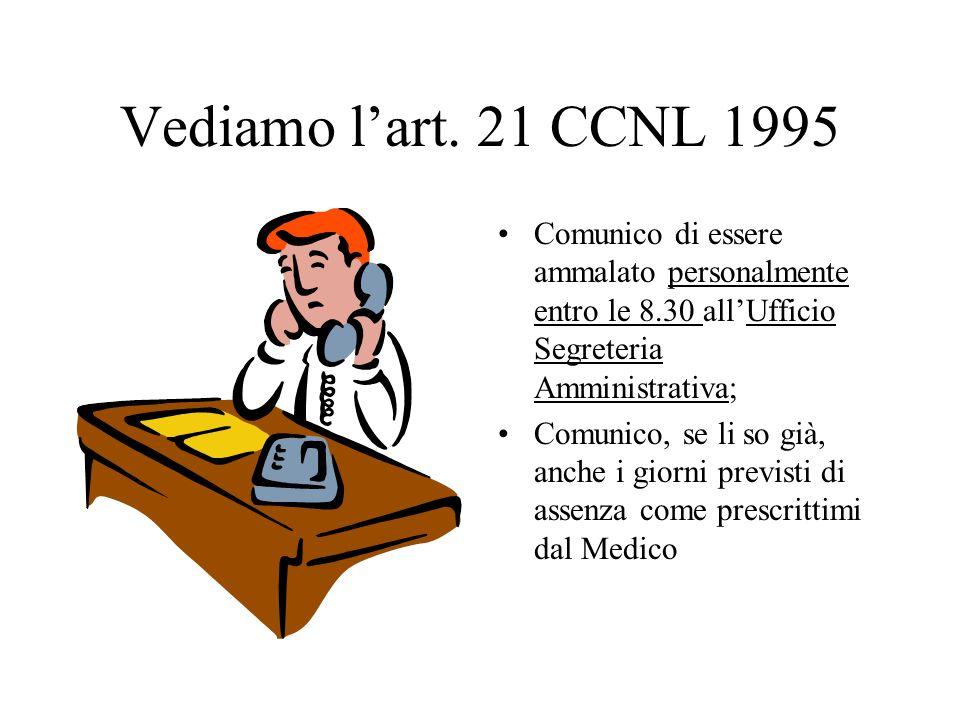Vediamo lart. 21 CCNL 1995 Comunico di essere ammalato personalmente entro le 8.30 allUfficio Segreteria Amministrativa; Comunico, se li so già, anche