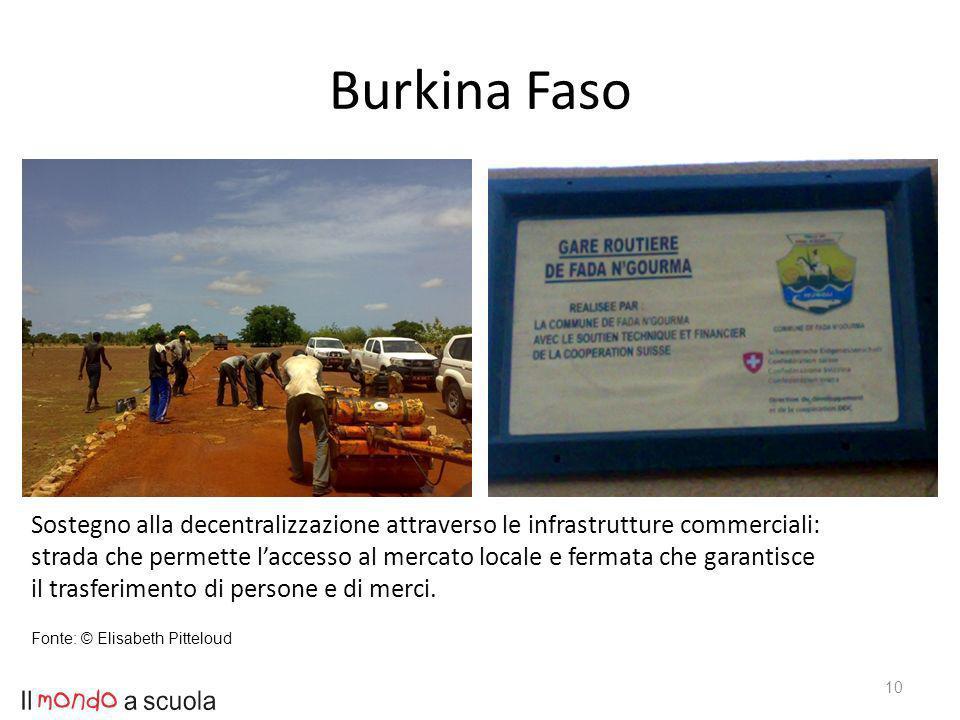 Burkina Faso 10 Sostegno alla decentralizzazione attraverso le infrastrutture commerciali: strada che permette laccesso al mercato locale e fermata che garantisce il trasferimento di persone e di merci.