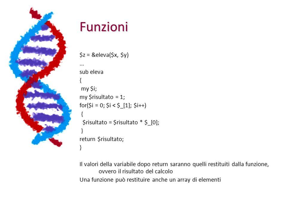 Funzioni $z = &eleva($x, $y)...