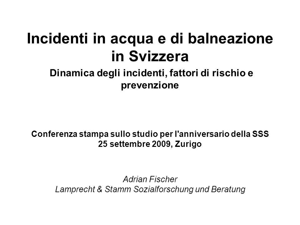 Differenze regionali: Numero medio di incidenti all anno durante la balneazione/attività natatorie *) Segmento LAINF (2001-2005) *) esclusi gli incidenti fuori dall acqua