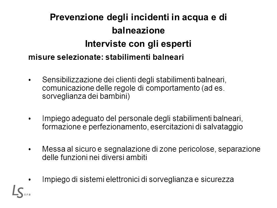 Prevenzione degli incidenti in acqua e di balneazione Interviste con gli esperti misure selezionate: stabilimenti balneari Sensibilizzazione dei clien