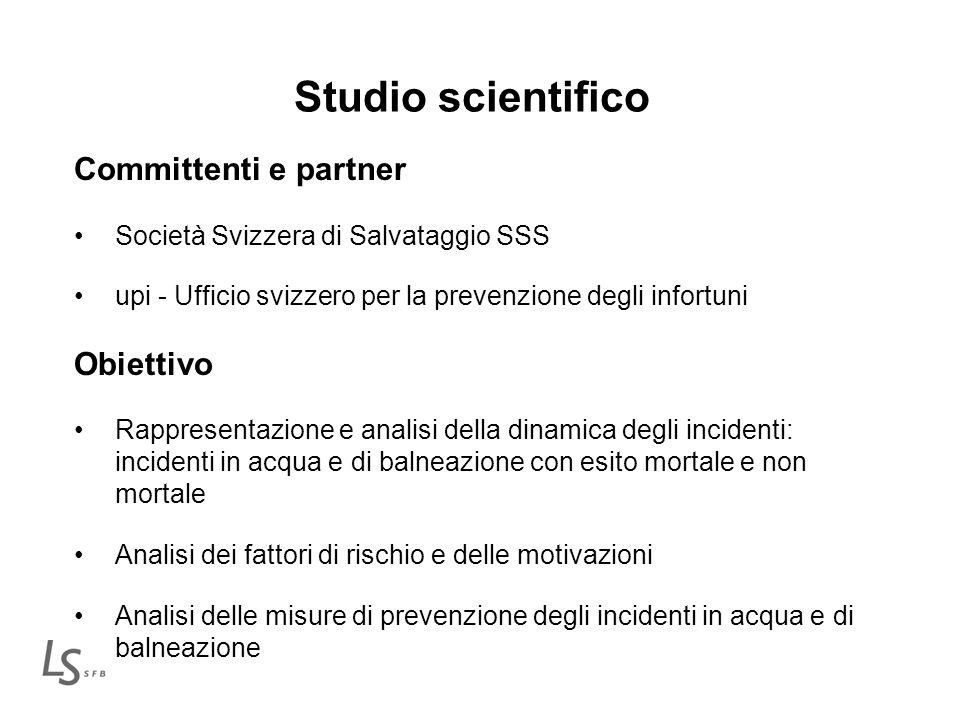 Studio scientifico Committenti e partner Società Svizzera di Salvataggio SSS upi - Ufficio svizzero per la prevenzione degli infortuni Obiettivo Rappr