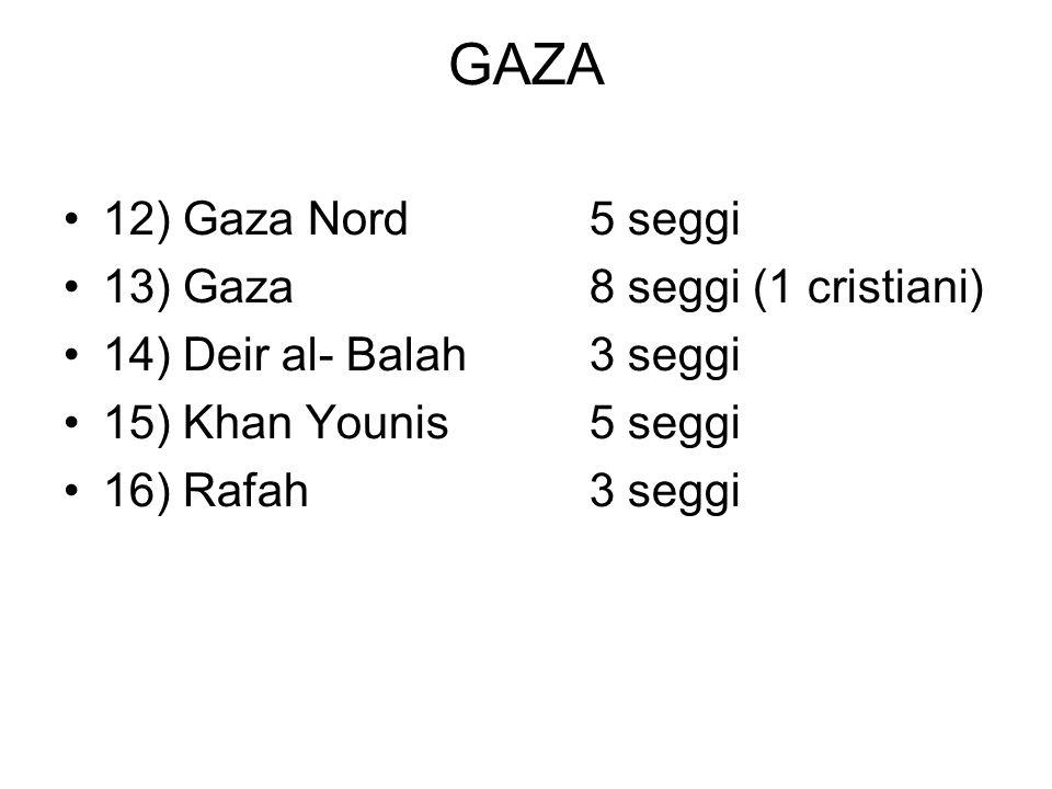 GAZA 12) Gaza Nord5 seggi 13) Gaza8 seggi (1 cristiani) 14) Deir al- Balah3 seggi 15) Khan Younis5 seggi 16) Rafah3 seggi