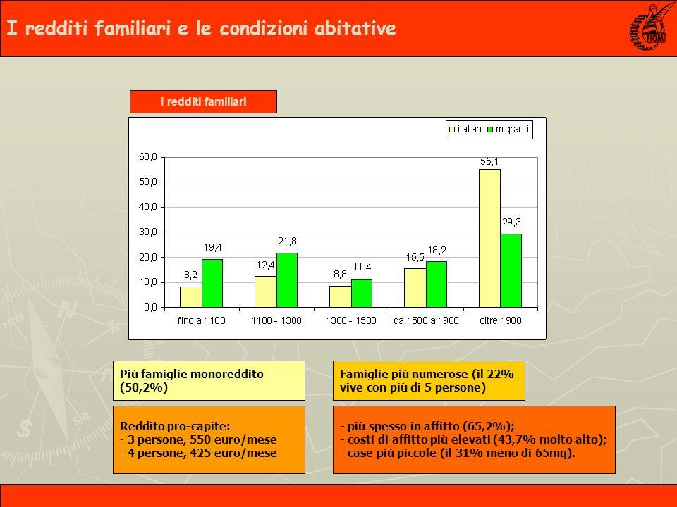 Tante impiegate, ma anche moltissime operaie I redditi familiari e le condizioni abitative I redditi familiari Più famiglie monoreddito (50,2%) Famiglie più numerose (il 22% vive con più di 5 persone) Reddito pro-capite: - 3 persone, 550 euro/mese - 4 persone, 425 euro/mese - più spesso in affitto (65,2%); - costi di affitto più elevati (43,7% molto alto); - case più piccole (il 31% meno di 65mq).