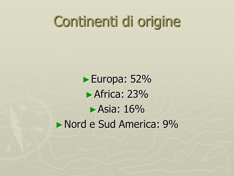 Continenti di origine Europa: 52% Europa: 52% Africa: 23% Africa: 23% Asia: 16% Asia: 16% Nord e Sud America: 9% Nord e Sud America: 9%