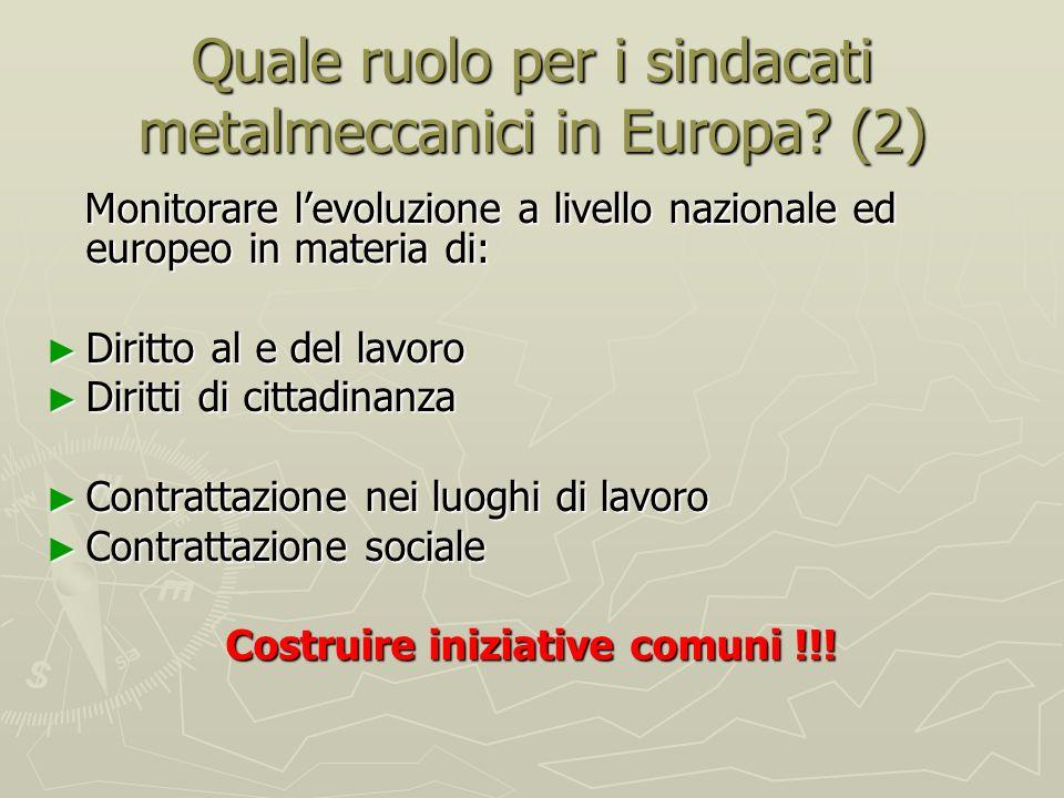 Quale ruolo per i sindacati metalmeccanici in Europa.