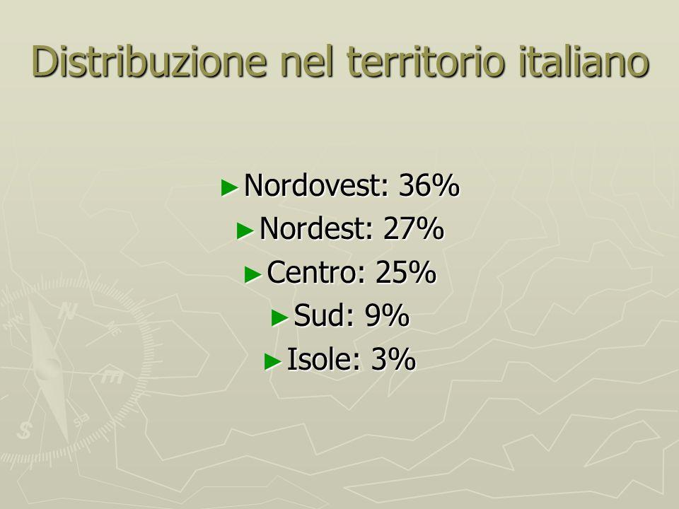 Distribuzione nel territorio italiano Nordovest: 36% Nordovest: 36% Nordest: 27% Nordest: 27% Centro: 25% Centro: 25% Sud: 9% Sud: 9% Isole: 3% Isole: 3%