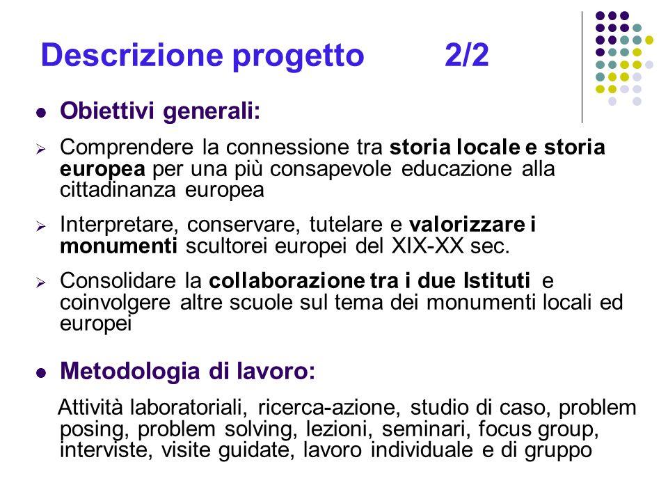 Descrizione progetto 2/2 Obiettivi generali: Comprendere la connessione tra storia locale e storia europea per una più consapevole educazione alla cit
