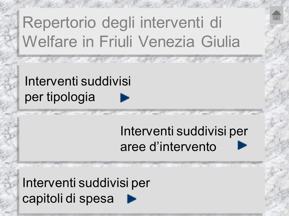 Interventi suddivisi per tipologia Repertorio degli interventi di Welfare in Friuli Venezia Giulia Interventi suddivisi per aree dintervento Interventi suddivisi per capitoli di spesa