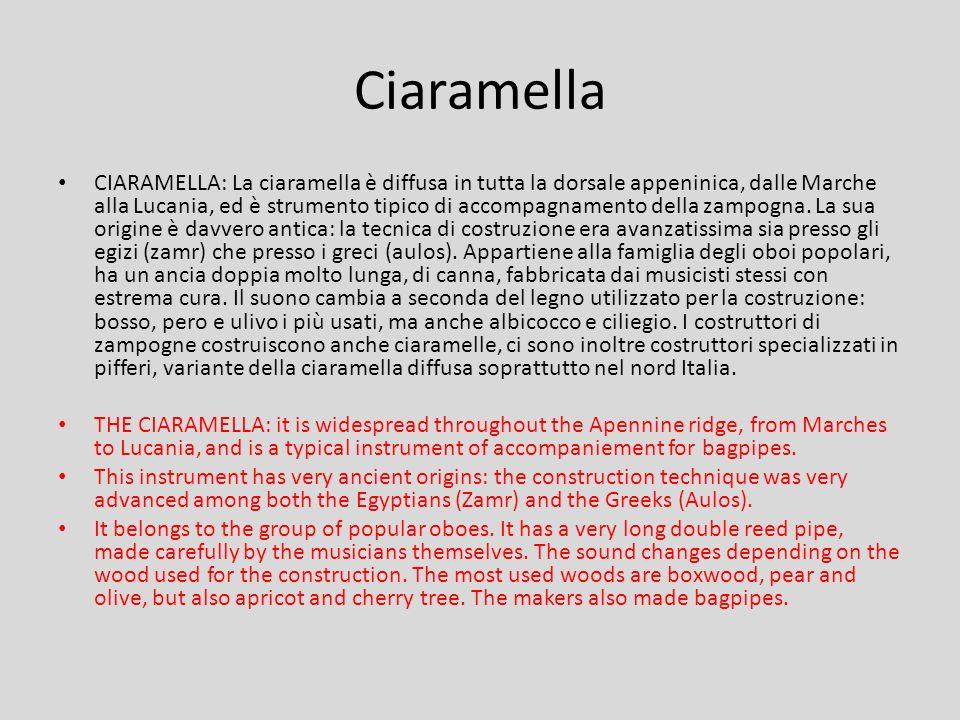 Ciaramella CIARAMELLA: La ciaramella è diffusa in tutta la dorsale appeninica, dalle Marche alla Lucania, ed è strumento tipico di accompagnamento della zampogna.