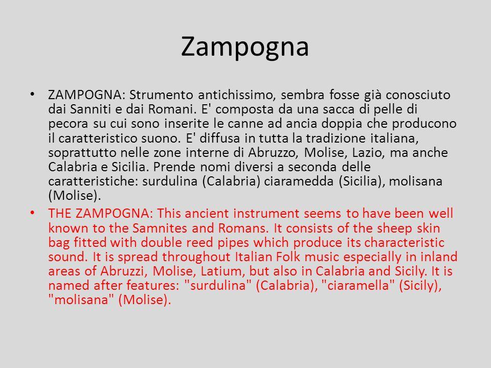 ZAMPOGNA: Strumento antichissimo, sembra fosse già conosciuto dai Sanniti e dai Romani. E' composta da una sacca di pelle di pecora su cui sono inseri