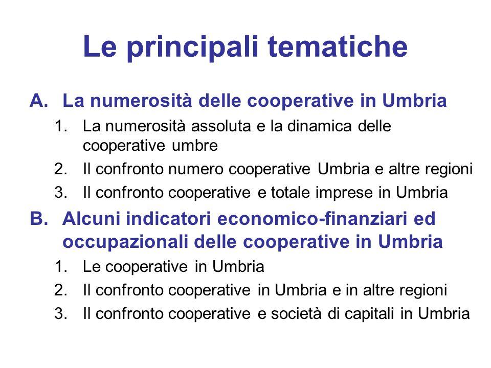 Le principali tematiche A.La numerosità delle cooperative in Umbria 1.La numerosità assoluta e la dinamica delle cooperative umbre 2.Il confronto nume