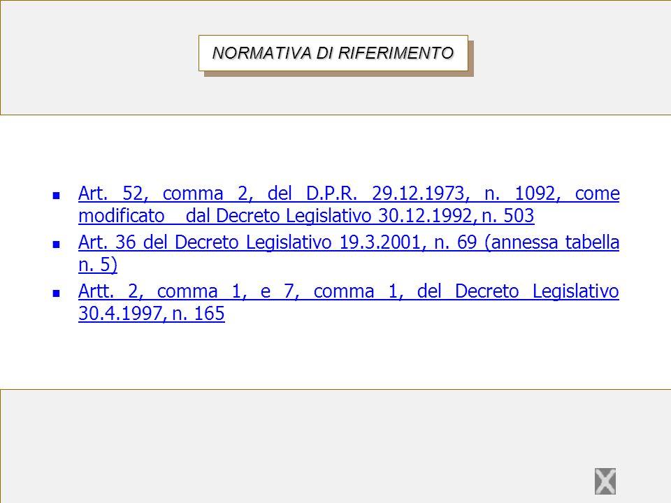 Art. 52, 5° comma, del D.P.R. 29.12.1973, n. 1092 NORMATIVA DI RIFERIMENTO