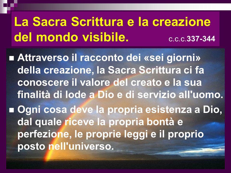 La Sacra Scrittura e la creazione del mondo visibile. c.c.c.337-344 Attraverso il racconto dei «sei giorni» della creazione, la Sacra Scrittura ci fa
