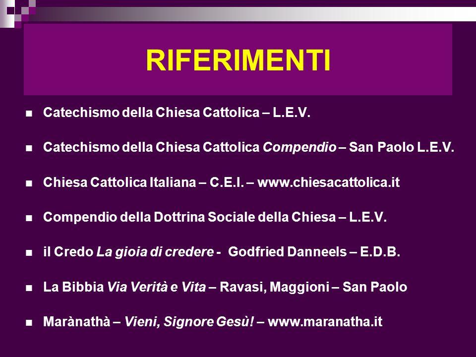 RIFERIMENTI Catechismo della Chiesa Cattolica – L.E.V. Catechismo della Chiesa Cattolica Compendio – San Paolo L.E.V. Chiesa Cattolica Italiana – C.E.