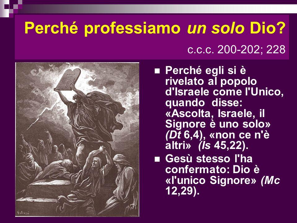Perché professiamo un solo Dio? c.c.c. 200-202; 228 Perché egli si è rivelato al popolo d'Israele come l'Unico, quando disse: «Ascolta, Israele, il Si