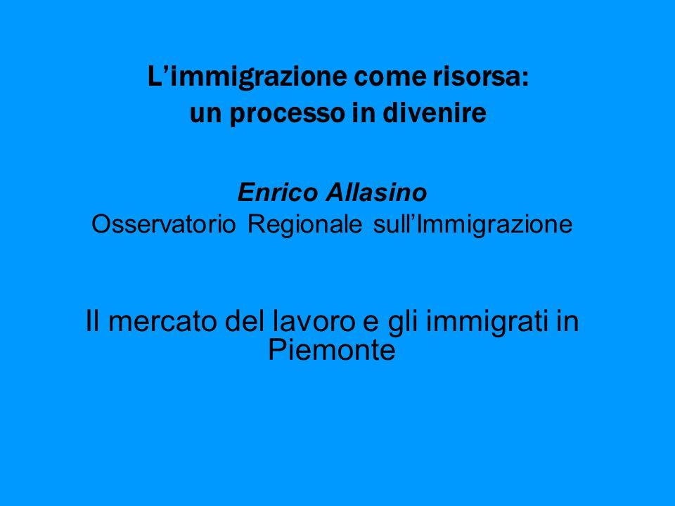 Limmigrazione come risorsa: un processo in divenire Enrico Allasino Osservatorio Regionale sullImmigrazione Il mercato del lavoro e gli immigrati in Piemonte
