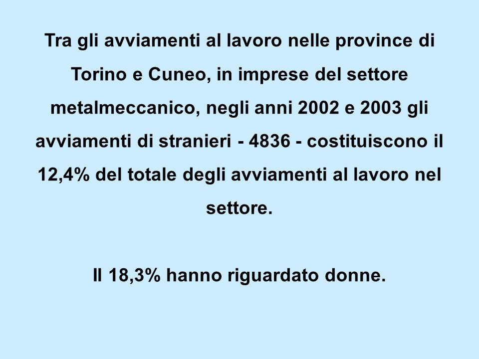 Tra gli avviamenti al lavoro nelle province di Torino e Cuneo, in imprese del settore metalmeccanico, negli anni 2002 e 2003 gli avviamenti di stranieri - 4836 - costituiscono il 12,4% del totale degli avviamenti al lavoro nel settore.