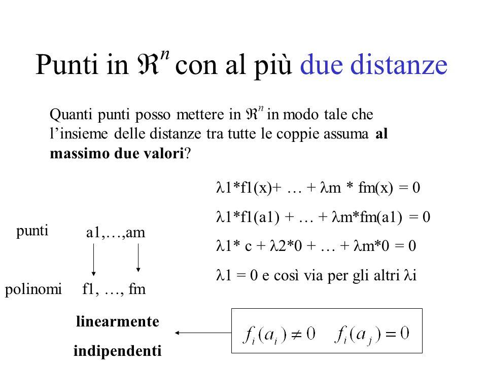 Punti in n con al più due distanze Quanti punti posso mettere in n in modo tale che linsieme delle distanze tra tutte le coppie assuma al massimo due