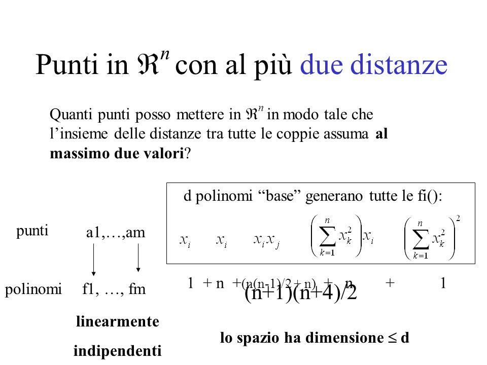Punti in n con al più due distanze Quanti punti posso mettere in n in modo tale che linsieme delle distanze tra tutte le coppie assuma al massimo due valori.