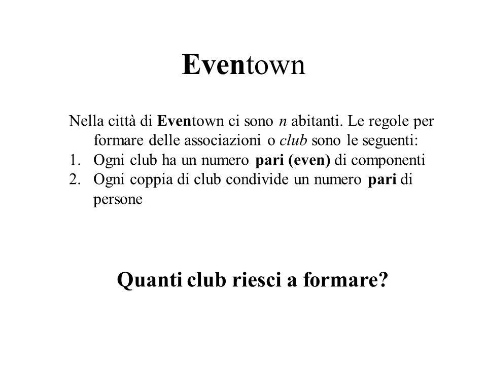 Eventown Nella città di Eventown ci sono n abitanti.