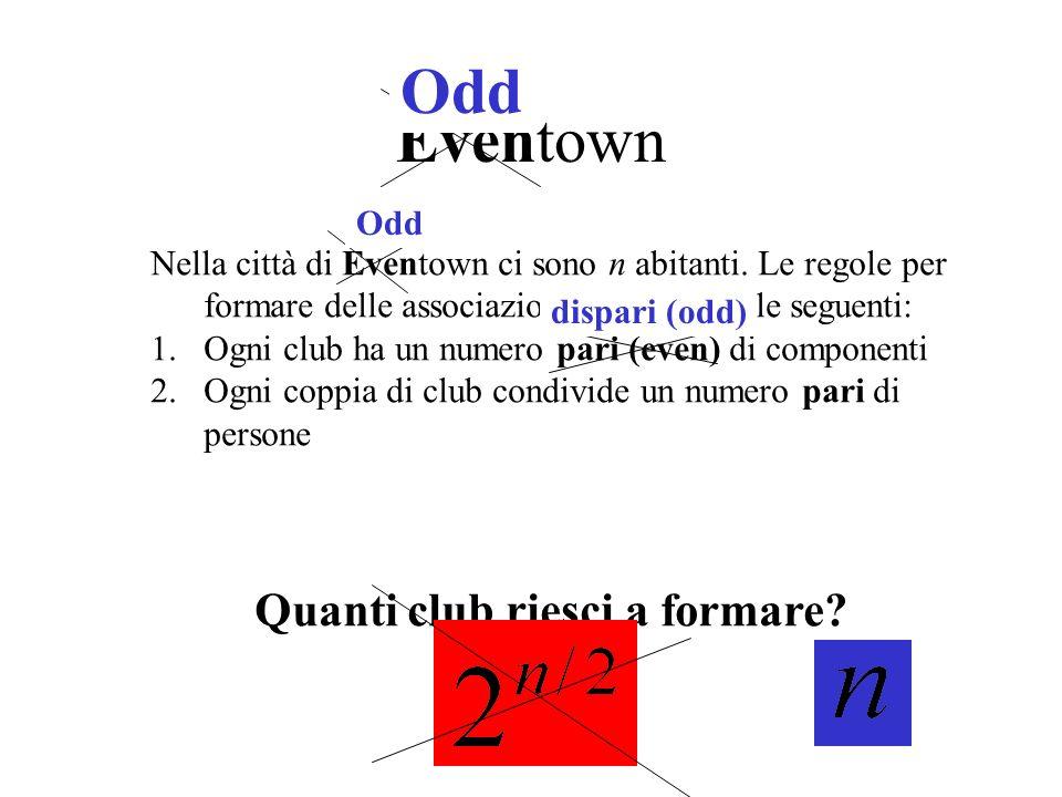 Eventown Nella città di Eventown ci sono n abitanti. Le regole per formare delle associazioni o club sono le seguenti: 1.Ogni club ha un numero pari (