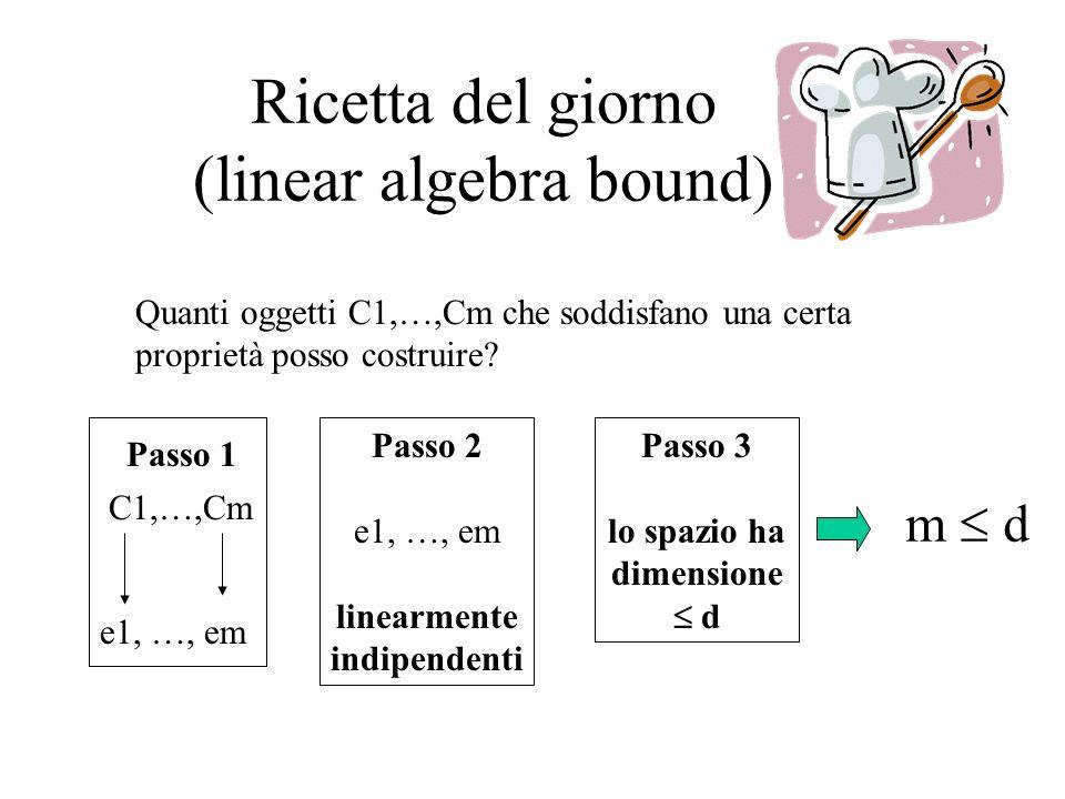 Ricetta del giorno (linear algebra bound) Quanti oggetti C1,…,Cm che soddisfano una certa proprietà posso costruire? C1,…,Cm e1, …, em Passo 1 Passo 2
