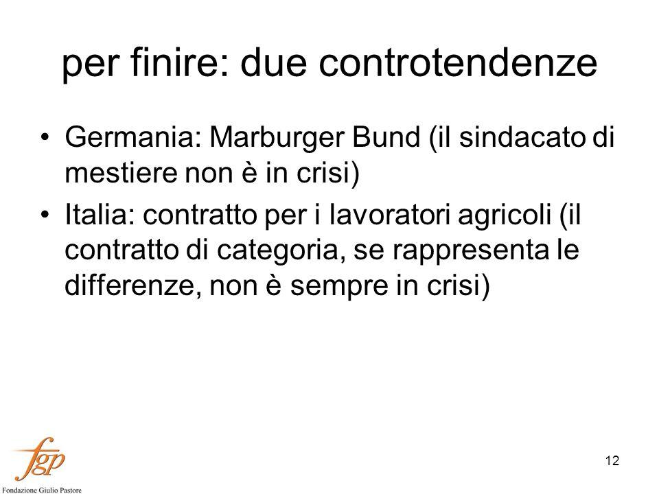 12 per finire: due controtendenze Germania: Marburger Bund (il sindacato di mestiere non è in crisi) Italia: contratto per i lavoratori agricoli (il contratto di categoria, se rappresenta le differenze, non è sempre in crisi)