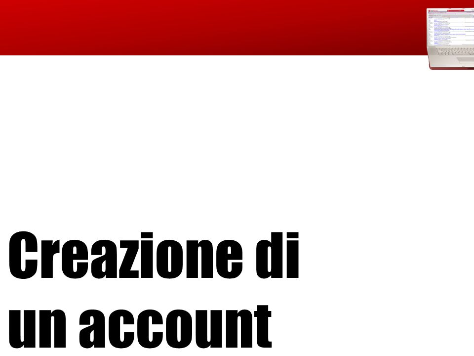 Creazione di un account