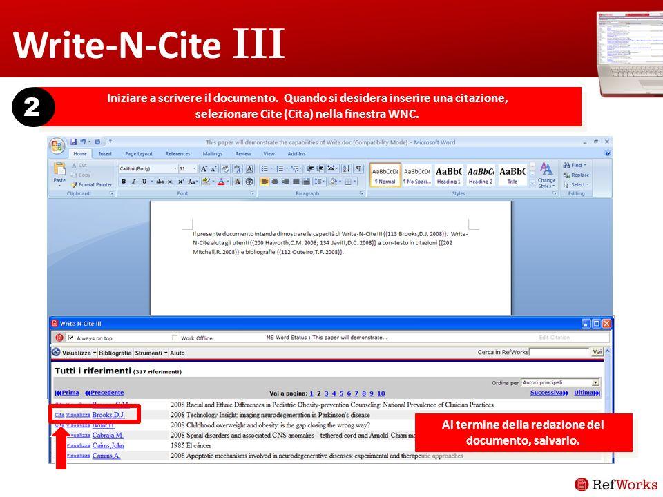 Write-N-Cite III Iniziare a scrivere il documento.