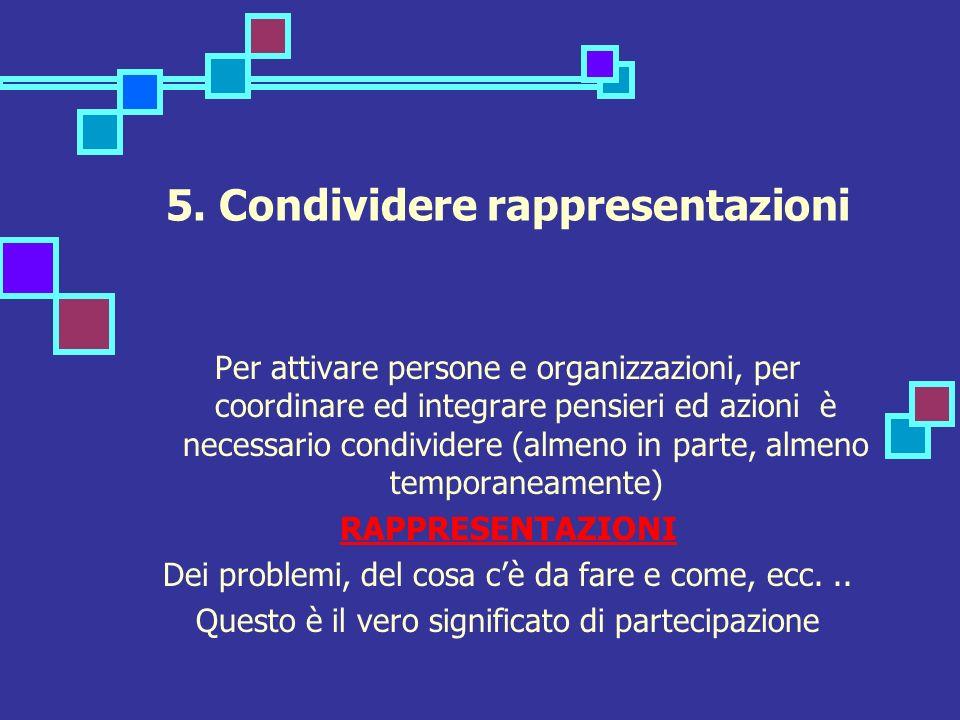 5. Condividere rappresentazioni Per attivare persone e organizzazioni, per coordinare ed integrare pensieri ed azioni è necessario condividere (almeno